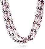 6-7mm Dyed Purple Baroque Freshwater Cultured Pearl Endless Necklace, 100''