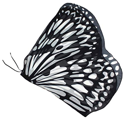 LIVEBOX Kids Monarch Butterfly Wings Shawl Cape Scarf Fabric Dance Wing Dress Up Costume Accessary (Black)