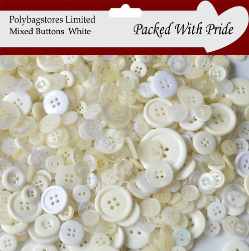 1 Bag Of 100g Art & Craft WHITE Sewing BUTTONS. Various Sizes BY POLYBAGSTORES LTD POLYBAGSTORES LIMITED