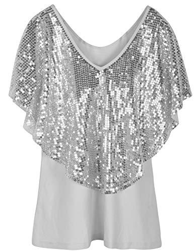 (PrettyGuide Women's Off Shoulder Tops Sequined Cape Party Tops Stretchy Shimmer Blouse Tops S Silver)