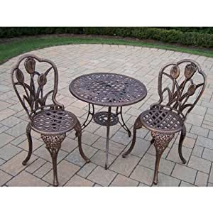 Amazon Com Oakland Living Tulip Cast Aluminum 3 Piece