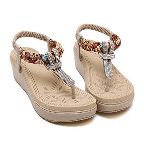 Cybling Comfort Fashion Bohemian Sleehak Sandalen Schoenen Voor Dames Beige