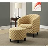 "Monarch Specialties I 8059 Burnt Yellow ""Circular"" Fabric Accent Chair/Ottoman, 30"""