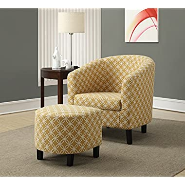 Monarch Specialties Burnt Yellow  Circular  Fabric Accent Chair/Ottoman, 30-Inch