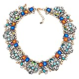 DemiJewelry Vintage Multi-Color Glass Collar Choker Bib Statement Necklace