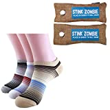 3 Pairs Odor Fighting Bamboo Womens Ankle Socks Plus Shoe Deodorizer