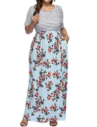 Allegrace Women's Plus Size Floral Print Striped Patchwork Maxi Dress Short Sleeve Long Dresses Lake-A 3X