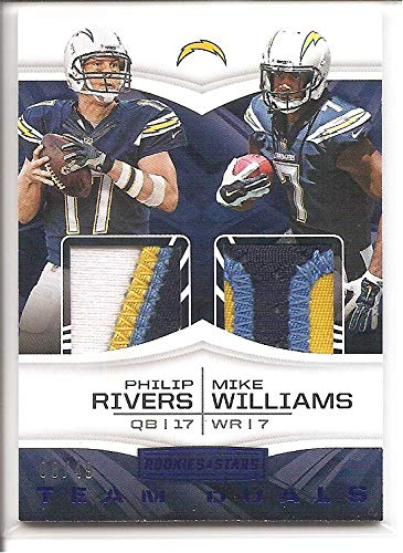 (Philip Rivers/Mike Williams Los Angeles Chargers 2017 Panini Rookie and Stars Multi-Color Patch Dual Jersey Memorabilia Football Card #8/49)