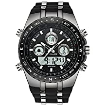 Men's Decent Sports Watches, Multifunction Big Face Military Wrist Watch in Black Silicone Band