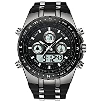 Mens Decent Sports Watches Multifunction Big Face Military Wrist Watch in Black Silicone Band