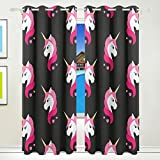 Vantaso Polyester Light Shading Window Curtains Pink Unicorn Black Background 2 Pannels for Bedroom Kids Living Room 84 inch x 55 inch