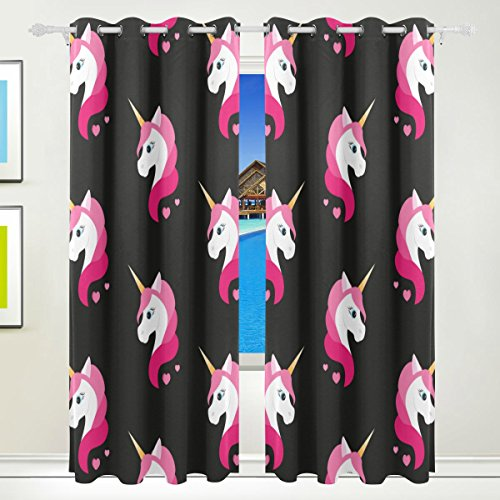 Vantaso Polyester Light Shading Window Curtains Pink Unicorn Black Background 2 Pannels for Bedroom Kids Living Room 84 inch x 55 inch by Vantaso