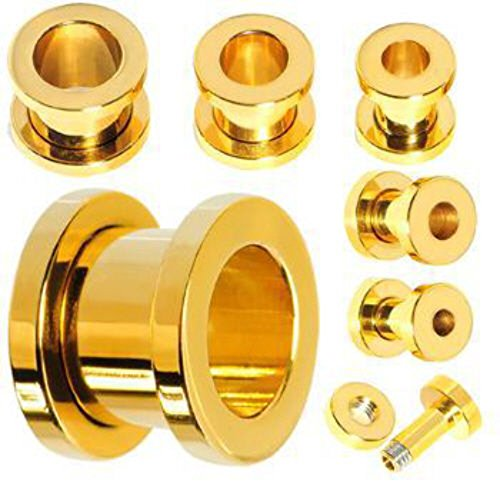 PAIR of Gold Plated Screw Fit Tunnels Ear Plugs Earlets Gauges (10g (2.5mm))