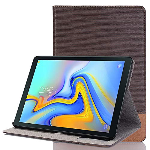 Price comparison product image Earcase Case for Samsung Galaxy Tab A 10.5,  Flip Slim Shell PU Leather Smart Case Trifold Stand Cover with Auto Wake / Sleep Function for Samsung Galaxy Tab A 10.5 Inch 2018 SM-T590 / SM-T595-Dark Brown