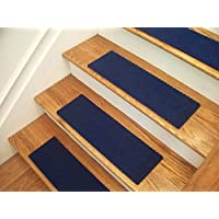 Essential Carpet Stair Treads - Style: Berber - Color: Blue - Size: 24 x 8 - Set of 13
