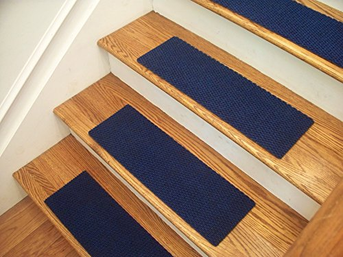 Essential Carpet Stair Treads - Style: Berber - Color: Blue - Size: 24'' x 8'' - Set of 13 by Essential Specialty Products
