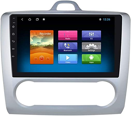 Navegación GPS con Radio de Coche Android 10 de 2 + 32GB con Pantalla táctil de 9 Pulgadas 1080P Compatible con Ford Focus Exi At 2004-2011 ...