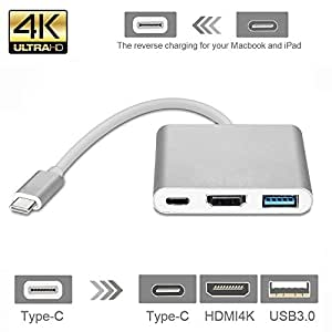 Type-C to HDMI DIWUER USB-C Digital AV Multiport Adapter, USB 3.1 Type-C to HDMI Adapter 4K USB 3.0 HUB With 1 Charging Port for Apple The NEW Macbook Chromebook Pixel with Aluminium Case