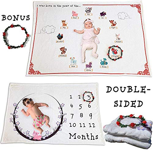 Zodiac Monthly Baby Milestone Blanket | Double Sided Soft Fleece/w Wreath | Year of The Pig 2019 Lunar New Year | Perfect Baby Shower Photo Prop Gift Set for Growing Infant Newborns Boy and Girl