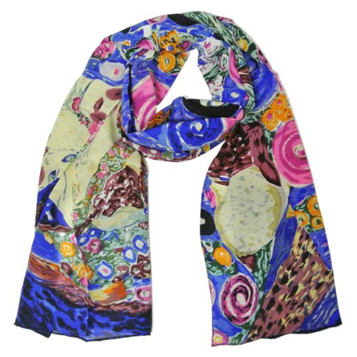 Allydrew Luxurious 100% Charmeuse Silk Long Scarf with Hand Rolled Edges, Gustav Klimt