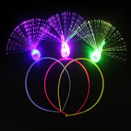 Katoot@ 3pcs LED Flashing Optical Fiber Peacock Headband Kids Gift Hair Stage Performance Props Party Supplies by Katoot