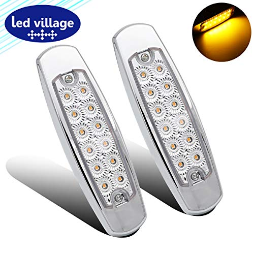 "LedVillage 2 Pcs 6 4"" Clear Lens Amber LED Rectangle Clearance Lamp"
