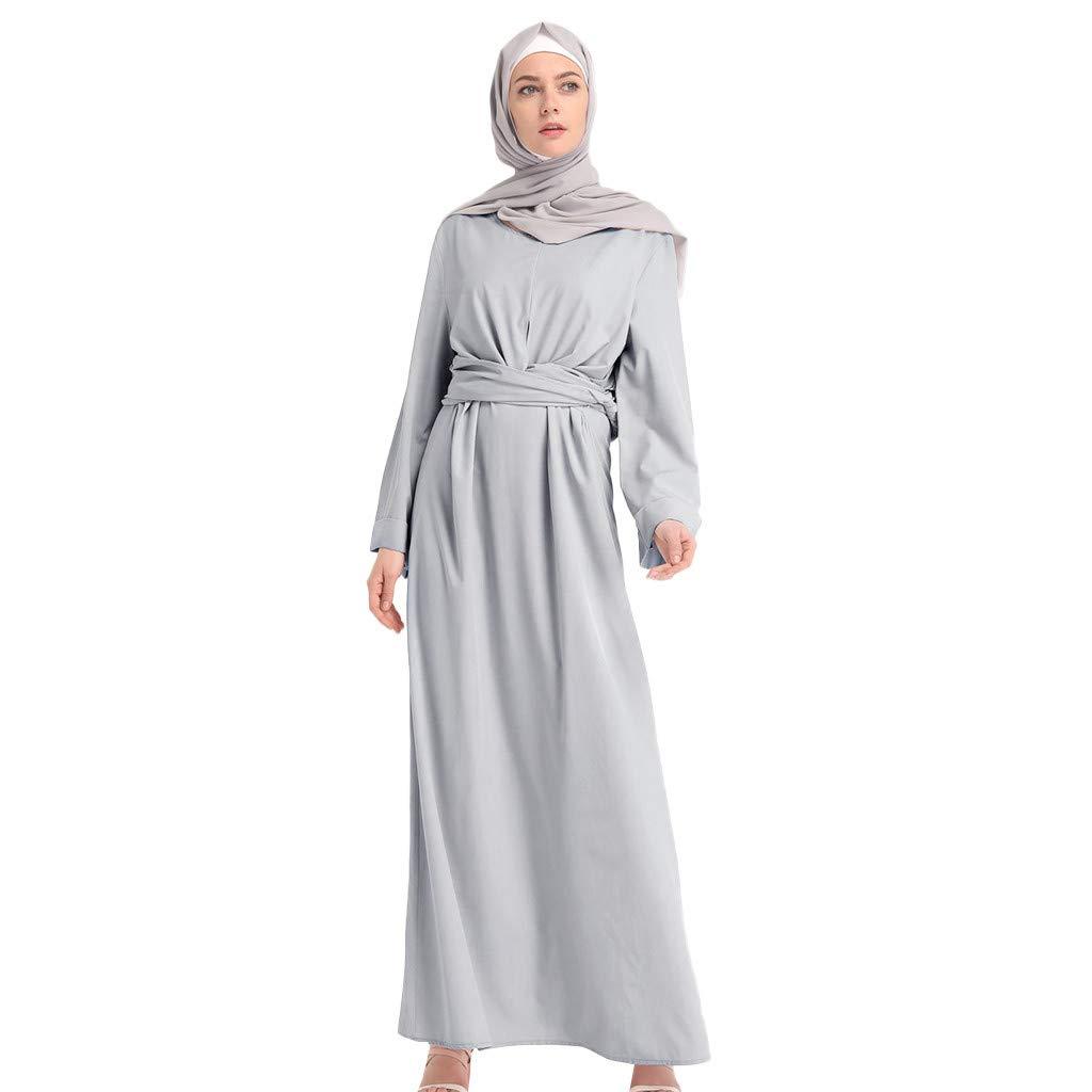 Women Fashion Comfortable Long Dress, Lady Soild Color Fake 2pcs Long Sleeve Muslim Strap Robes Tummy Wasit Simple Dress