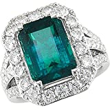 Amoro 18kt White Gold Colombian Emerald and Diamond Ring (1.82 cttw, G-H Color, VS2-SI1 Clarity)