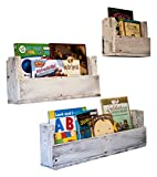 Drakestone Designs Nursery Bookshelves Various Sizes (Set of 3) | Wall Mount | Handmade Rustic Reclaimed Wood - Whitewash