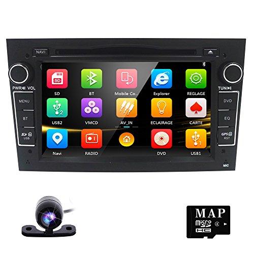 Backup Camera + Hizpo Car Stereo DVD Player for Opel Vauxhall Vectra Astra Antara Zafira Corsa Meriva Vivaro Radio 2 Din 7 Inch In Dash GPS Sat Navigation