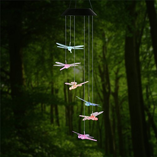 Changing Color Dragonfly Wind Chime, AceList Spiral Spinner Windchime Portable Outdoor Decorative Romantic Windbell Light for Patio, Deck, Yard, Garden, Home, Pathway - Dragonfly Chimes