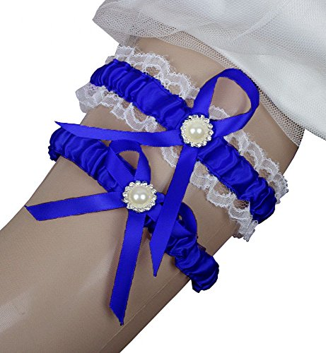 Miranda's Bridal Women's Lace Edge Satin Bridal Garters Wedding Garters with Pearl Royal Blue M