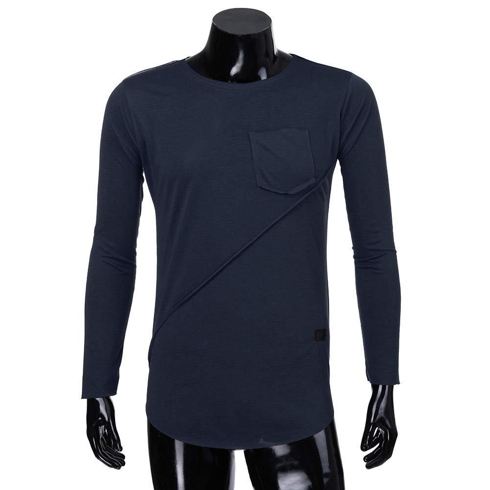 BaZhaHei, Polo de Hombre, Hombre de Manga Larga Beefy Muscle Button Basic Solid Pure de Hombre Camiseta Blusa del Tops para Hombre de Manga Larga de Color ...