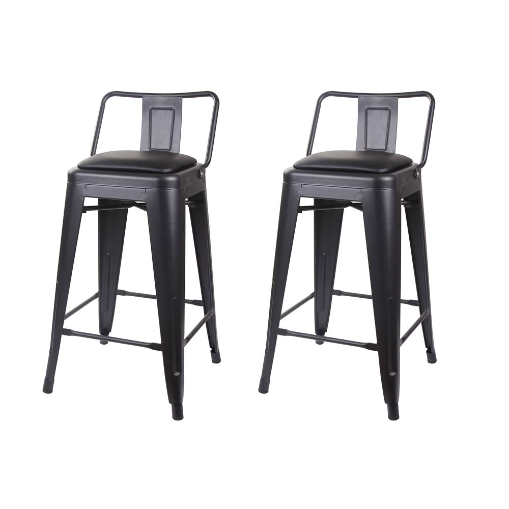 Surprising Details About Gia 24 Inch Low Back Stool With Faux Leather Seat 2 Pack Black Black Evergreenethics Interior Chair Design Evergreenethicsorg