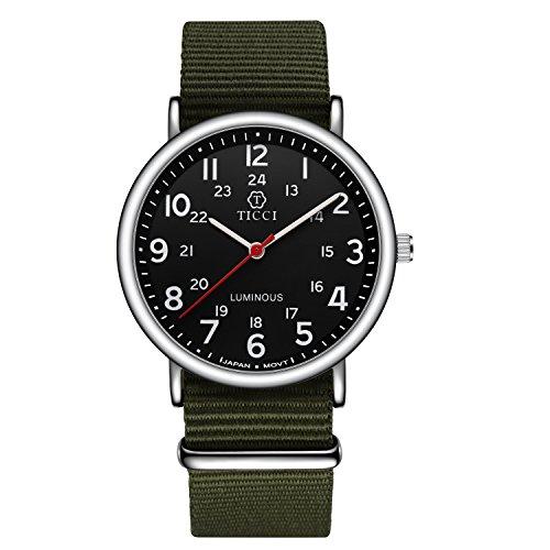 Unisex Noctilucent Watch Men Quartz Watch NATO Nylon Strap Band Women Wristwatch Luminous Dial Wrist Watch (Black Green)