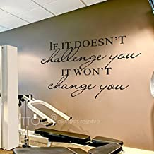 """BATTOO Fitness Wall Decal- If It Doesn't Challenge You. It Won't Change You.- Classroom Wall decor- Inspirational Quote Wall Decal Sticker(Black, 54""""WX37""""H)"""