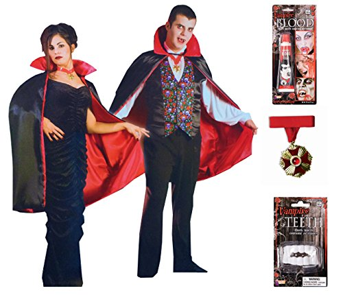 [Adult Mens & Womens Vampire Costume & Accessories Set by Express Novelties Online] (Bleeding Dark Zombie Adult Unisex Costumes)