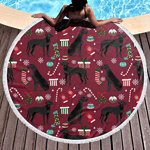 Great Dane Black Christmas Stockings Candy Canes Dog Beach Towels, Personalized Round Beach Towel - Microfiber Large