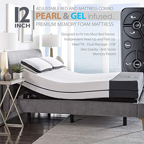 """Ananda 12"""" Queen Pearl and Cool Gel Infused Memory Foam Mattress with Premium Adjustable Bed Frame Combo, Head Tilt, Massage, USB, Zero Gravity,Anti-Snore"""