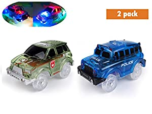 Light Up Toy Car Green Military Jeep and Blue Police Car 2 Pack with 5 LED Lights Compatible with Most Tracks Including Magic Track for Boys and Girls