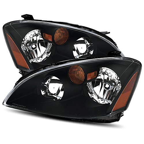 Modifystreet For 02-04 Nissan Altima Halogen Type Black Crystal Headlights Left/Right Assembly