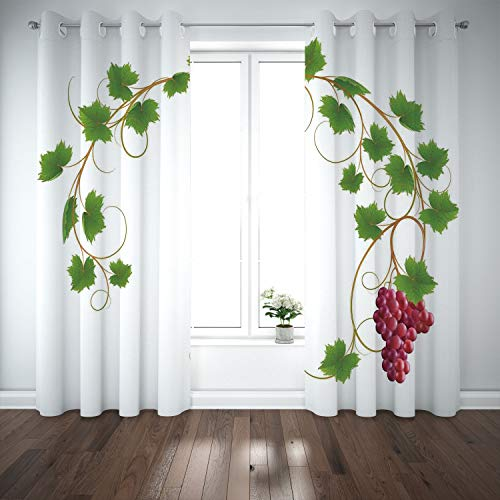 SCOCICI Grommet Polyester Window Curtains Drapes [ Grapes Home Decor,Curved Ivy Branch Deciduous Woody Wines Seed Clusters Cabernet Kitchen,Green Purple] Living Room Bedroom Kitchen Cafe