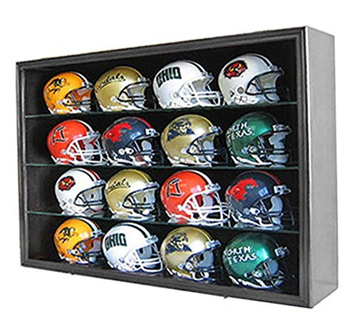 1/2 Scale Mini Football Helmet Display Case Cabinet Wall Rack w/UV Protection Door (Black Finish)