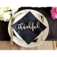 Thankful Place Card Settings, Thanksgiving Plate Decor, Wood Word