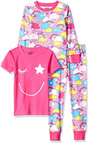 (Amazon Brand - Spotted Zebra Big Kid 3-Piece Snug-Fit Cotton Pajama Set, Pink Rainbow, XX-Large (14))