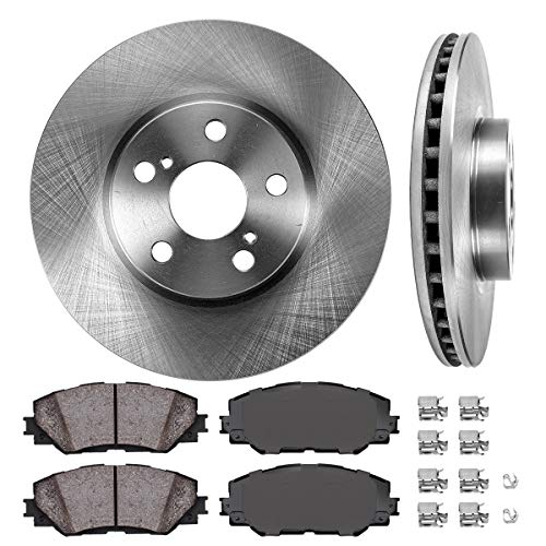 FRONT 275 mm Premium OE 5 Lug [2] Brake Disc Rotors + [4] Ceramic Brake Pads + Clips