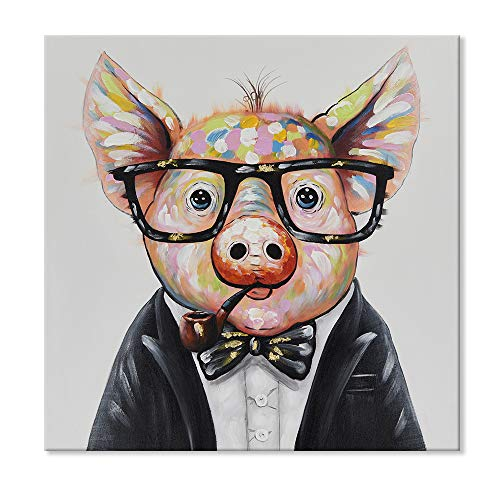 (7CANVAS -Handmade Pig Oil Painting Wall Art- Animal Colorful Pig Wall Decor Stretched Inner Frame Modern Piggy Wall Picture for Living Room Bedroom Decoration(Smart Pig, 24x24 Inch))