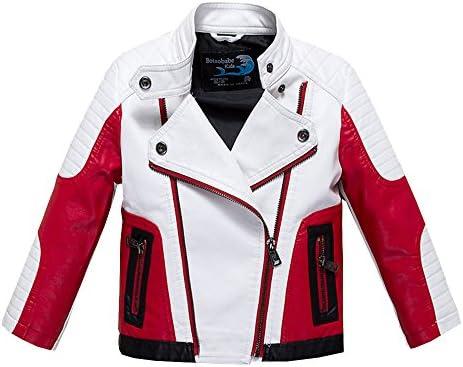 Budermmy Boys Leather Motorcycle Pilot Jackets Toddler Coats (11-12 Year White)