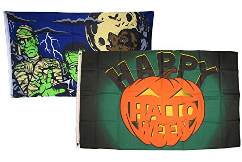 ALBATROS 3 ft x 5 ft Happy Halloween 2 Pack Flag Set Combo #5 Banner Grommets for Home and Parades, Official Party, All Weather Indoors Outdoors]()