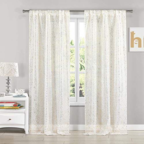 Lala + Bash - Molly Semi-Sheer Metallic Texture Linen Pole Top Window Curtains for Living Room & Bedroom - Assorted Colors - Set of 2 Panels (38 X 84 Inch - White & Gold)